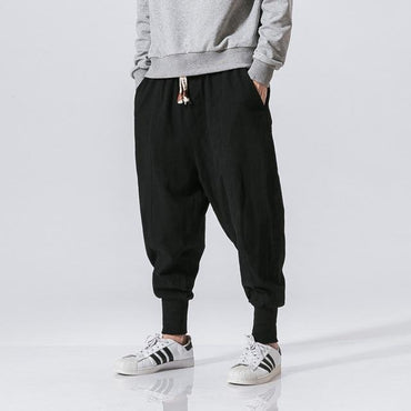 Men Harem Pants Casual Cotton Linen Baggy Jogger Pants