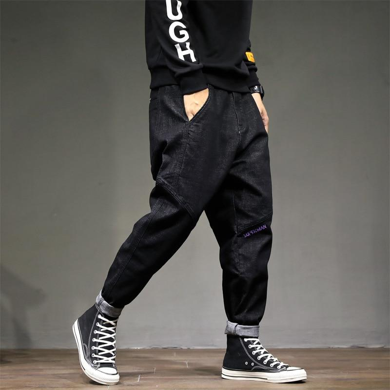 Fashion Streetwear Men Vintage Loose Fit Embroidery Design Hip Hop Jeans