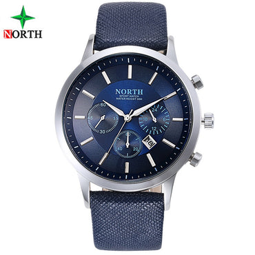 Men Waterproof Genuine Leather Fashion Casual Wristwatch