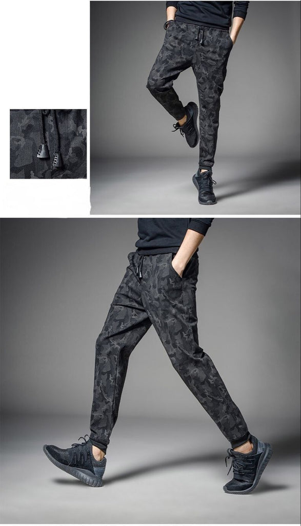 Men Joggers Loose Pencil Pants Slim Camouflage Patchwork Sweatpants