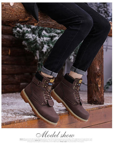 Men Winter Boots Warm Fur Lace Up Leather Waterproof Ankle Boots Premium Quality