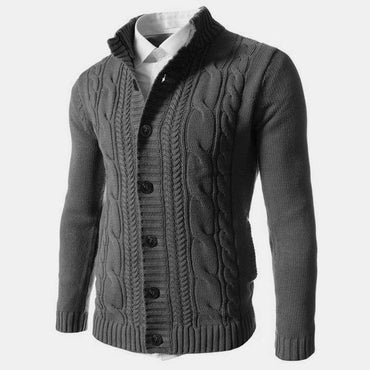 Men Sweater Winter Casual Solid Embroidery Buckle Long Sleeve Knitted Warm Cardigan