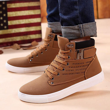 Men Winter Boots New Arrival Fashion Flock Plush Lace Up Boots