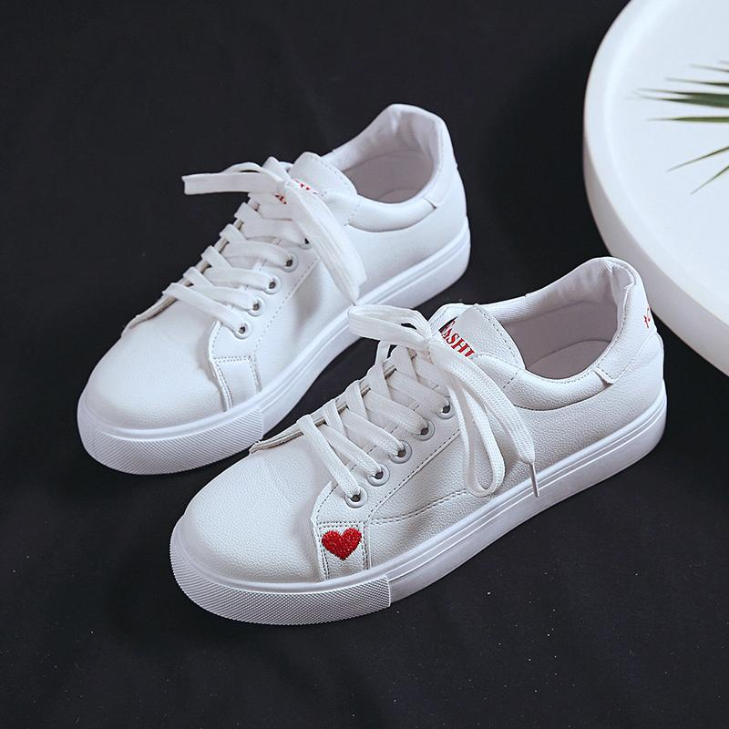Women Heart Sewing Leather Flats up Fashion Vulcanize Shoes