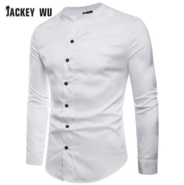 Brand Designer Men Fashion Collarless Long Sleeve Dress Shirt