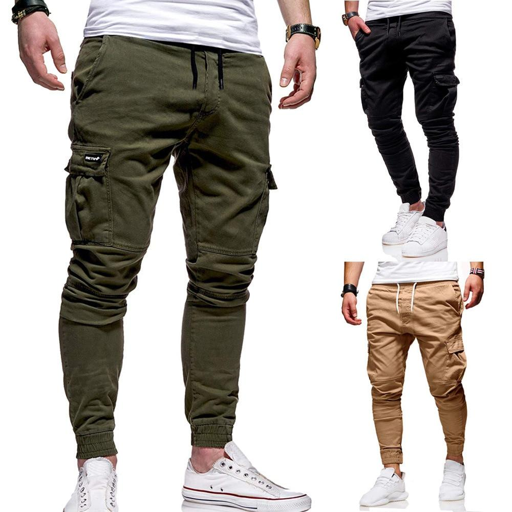Brand Design Men Multi Pocket Hip Hop Harem Joggers Pants