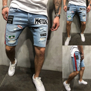Men Retro Patchwork Ripped Jeans Shorts