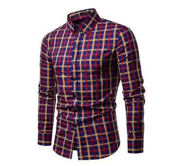 Men Fashion Long Sleeve Cotton Plaid Shirt