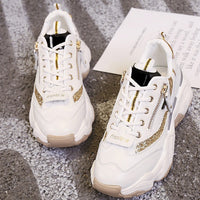 Mixed Color Women Mesh Breathable Lace Up Sport Shoes