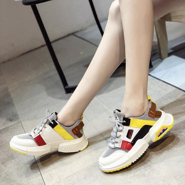 Women Vulcanize Shoes Thick Bottom Breathable Lace Up Sneakers