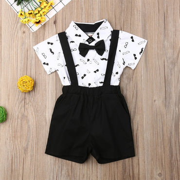 Baby Boys Outfit Set Bow Dress Shirts and Overall Kids Boy Clothing Set