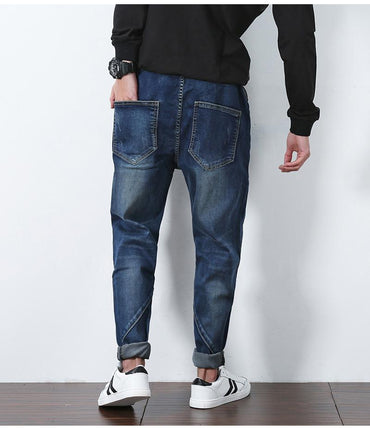 Top Fashion Patchwork low crotch men pencil elastic jeans