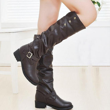 Women Knee High Boots Retro Low Heels Buckle Long Tube Leather Knight Boots