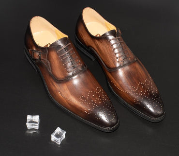 Men Dress Shoes Leather Buckle Strap Handmade Mixed Color Pointed Toe Oxfords Shoes