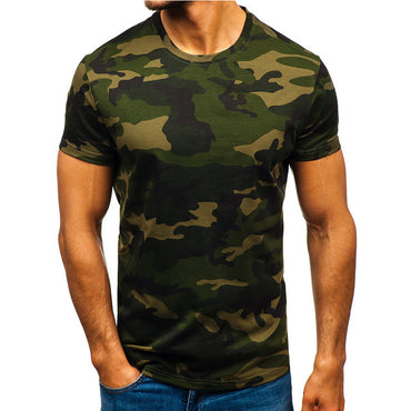 Men Camouflage Striped Pattern Casual Fashion T-Shirt
