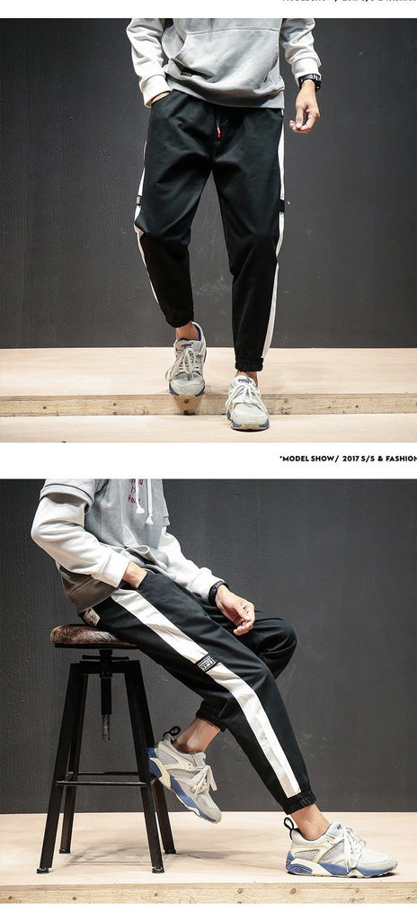 Mens Jogger Pants Ankle-Length  Striped Cotton Streetwear Trendy Joggers