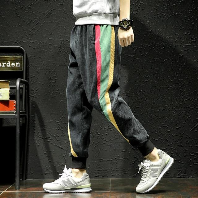 Men Corduroy Pants Fashion Striped Loose Streetwear Baggy Harem Pants