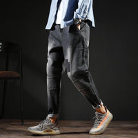 Band Design Men Unique Hip Hop Harem Jeans Pants