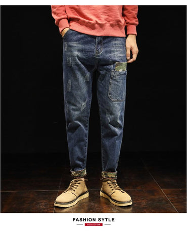 Men fashion high street hip hop loose casual harem jeans pants