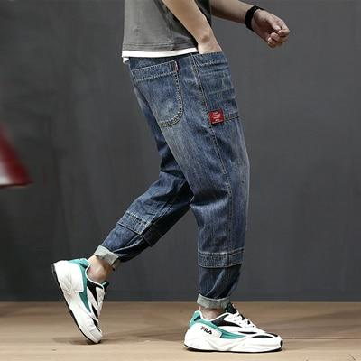 Fashion Streetwear Men Loose Fit Vintage Multi Pockets Denim Cargo Pants