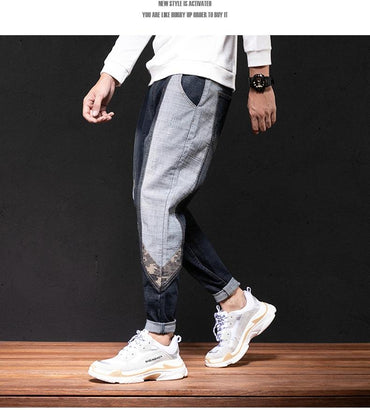 Men Side Patchwork Hip Hop Baggy Loose Harem Jeans Pants