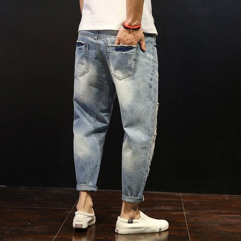 New Arrival Loose Harem Pants Men's Ripped Jeans Distressed Holes Jeans
