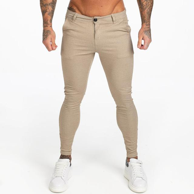 Men Chinos Slim Fit Stretchy Pants Thick Casual Ankle Tight Fit