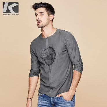 Men Cotton Print Fashion Long Sleeve T-Shirt