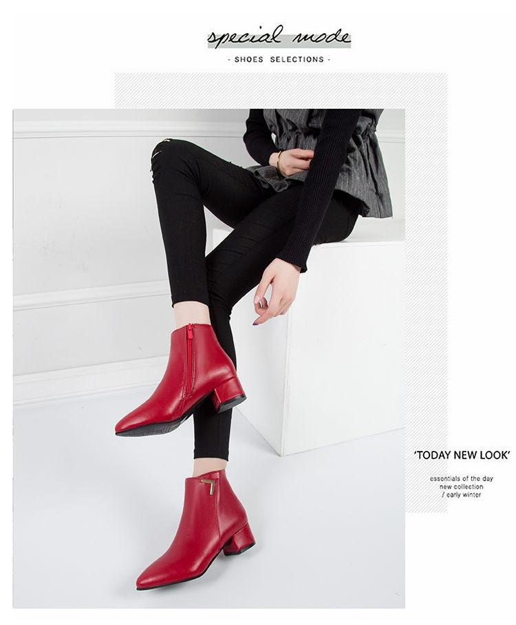 Fashion Women Boots Premium Leather Low High Heels Pointed Toe Rubber Ankle Boots