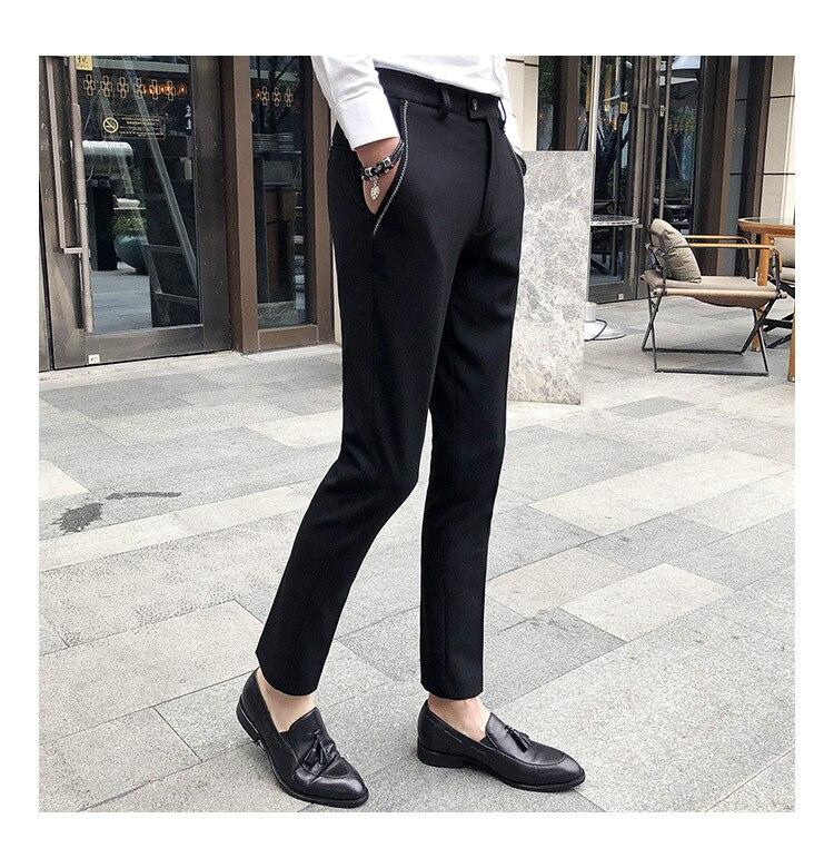 Men Suit Pants Zizag Stitch Thread Pocket Slim Fit Pencil Trousers