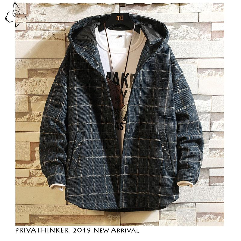 Men Wool Jacket Streetwear Fashion Thick Windbreaker Jacket