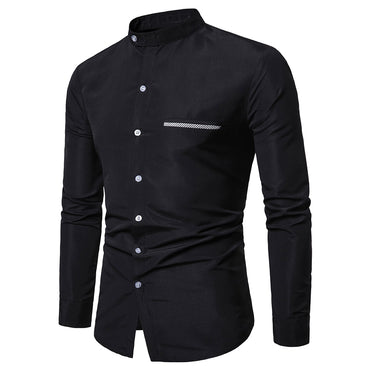 Men Solid Long Sleeve Cotton Shirt
