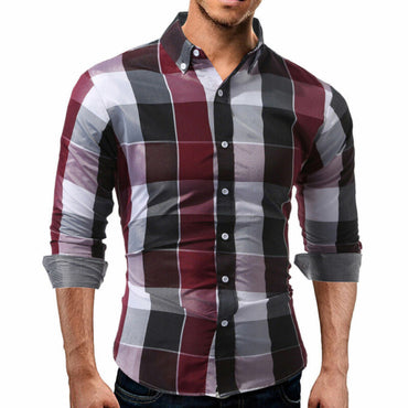 Men Flannel Plaid Soft Cotton Long Sleeve Shirt