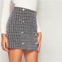 Black and White Double Breasted Tweed Mini Plaid Skirt