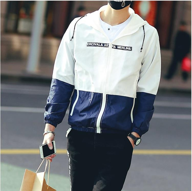 Men Jacket Windbreaker Sun Protection Hooded Thin Light Patchwork Jacket