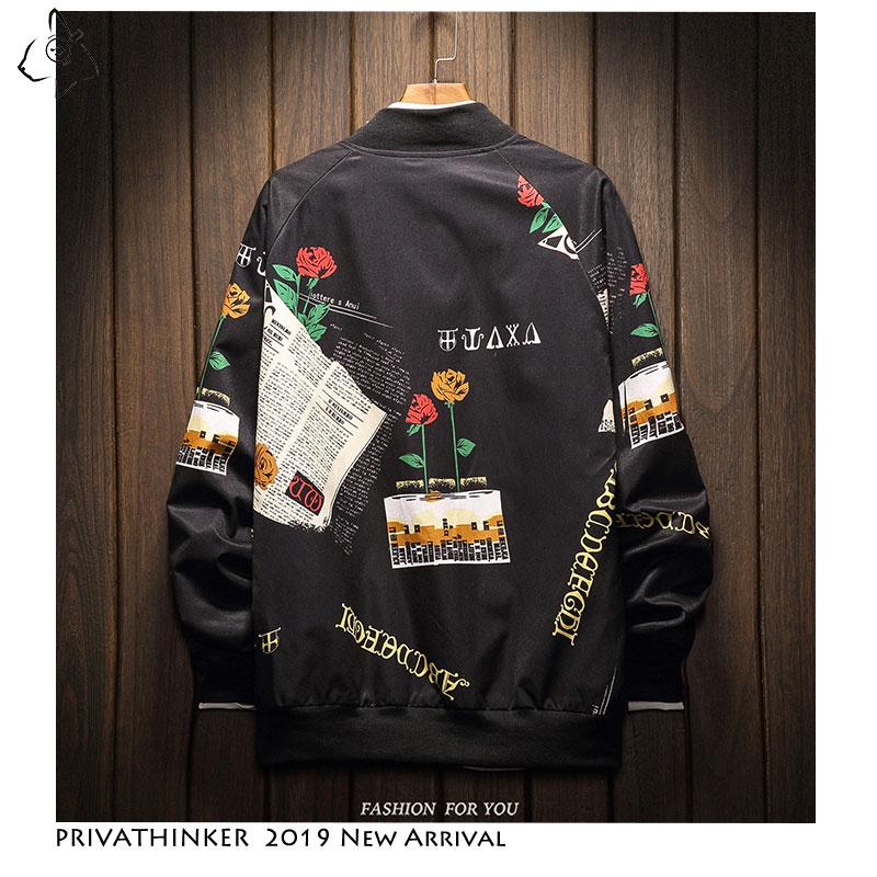 Men Jacket Casual Streetwear Baggy Tooling Flower Pattern Zipper Bomber Jacket