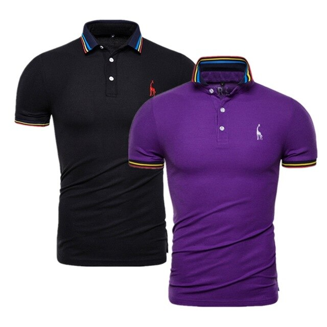 2 Pieces Set Men Solid Slim Fit Deer Embroidery Polo Shirt