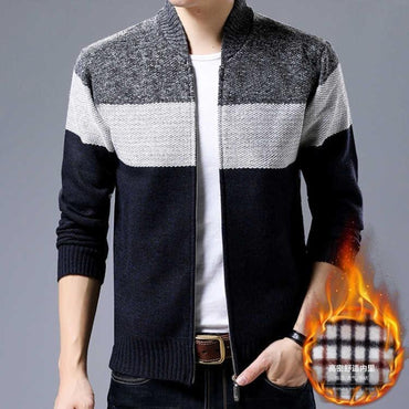 Men Sweater Striped Stand Collar Zipper Fleece Cashmere Liner Sweaters