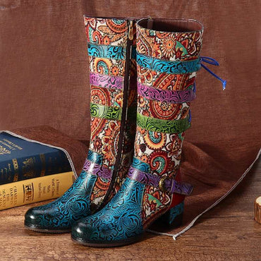 Women Retro Bohemian Genuine Leather  Cowgirl Boots