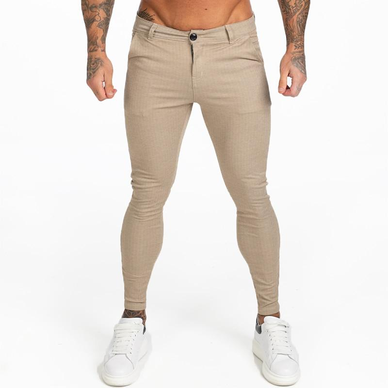 Men Chinos Pants Slim Fit Khaki Stretchy Ankle Tight Fit Street Fashion