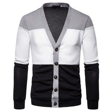 New Fashion Design Men Sweater Striped Patchwork Slim Fit Casual Style