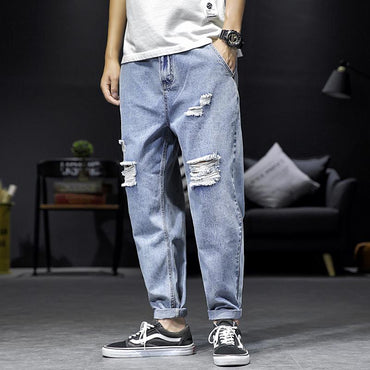 Men Baggy Jeans Original Loose Ripped Streetwear Hole Jeans