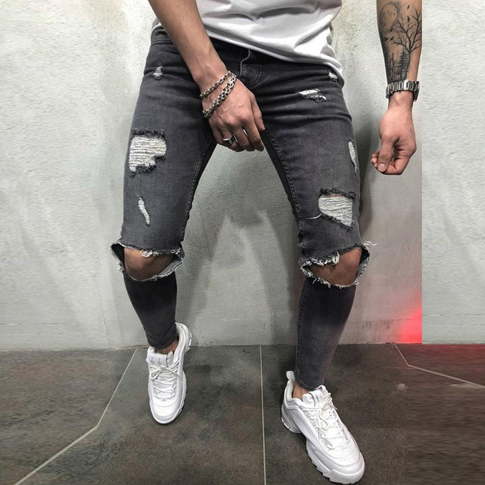 Best Men Jeans Fashion Skinny Stretch Distressed Ripped Freyed Slim Fit Jeans