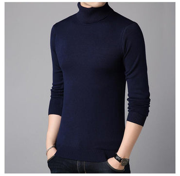 Men Sweater Winter High Neck Thick Warm Slim Fit  Knitwear
