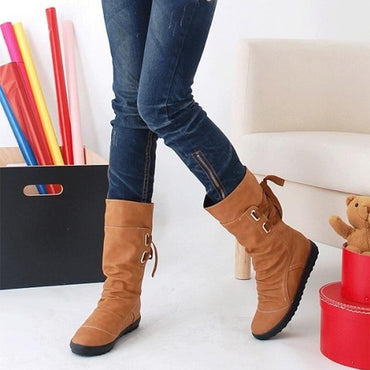 Fashion Design Women Mid-Calf Boots Platform Slip On Lace-up Solid Flat Heels