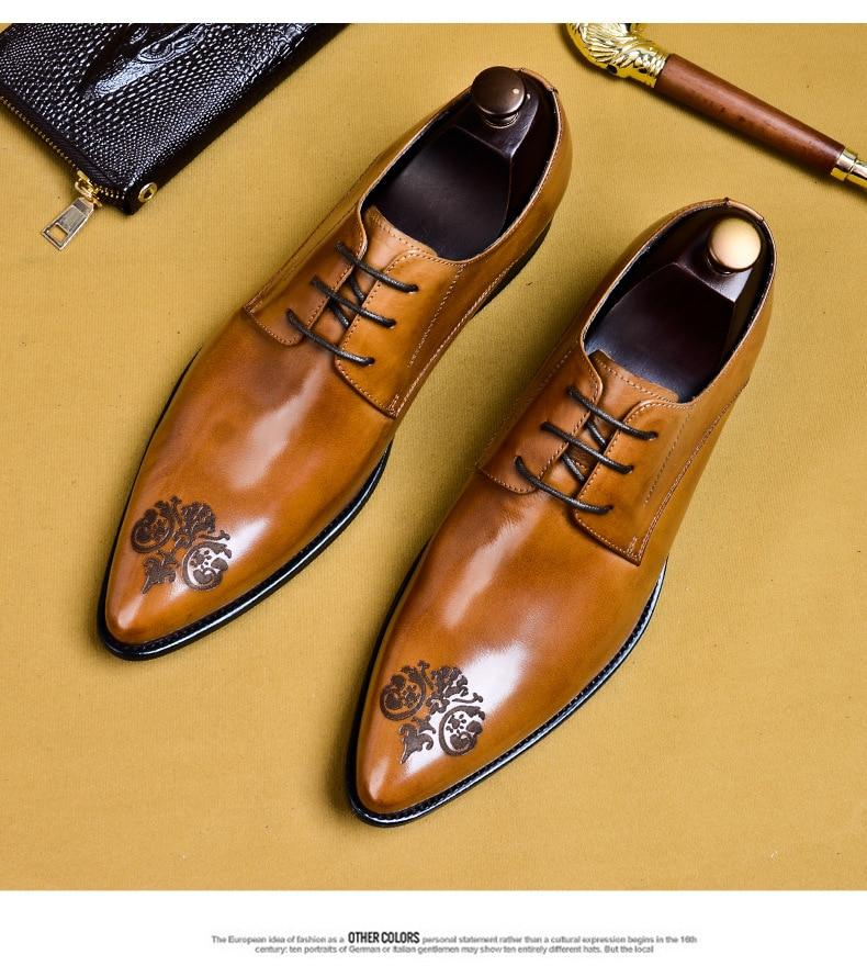 Elegant Design Men Genuine Leather British Style Oxfords Dress Shoes