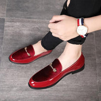 Men Dress Shoes Fashion Pointed Toe Patent Leather Oxford Shoes Luxury Design