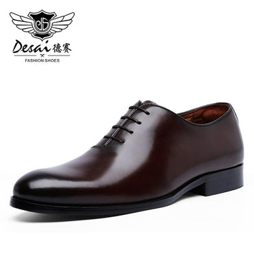Luxury Men Lace Up Full Grain Leather Italian Handmade Dress Shoes