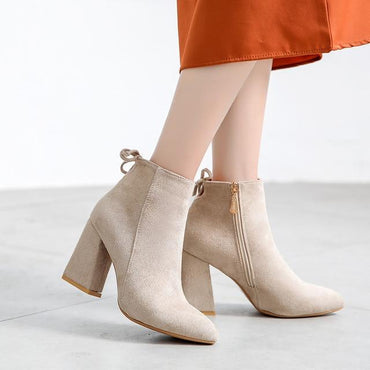 Women Ankle Boots Sexy Zipper High Heel Top Brand Designer