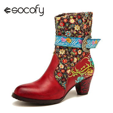 Flower Pattern Stitching Genuine Leather Women Mid Calf Boots